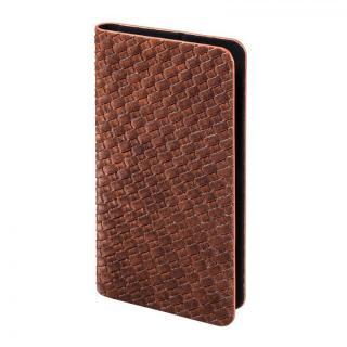 多くのスマートフォン機種対応 メッシュ柄PUレザー手帳型ケース ブラウン iPhone Android