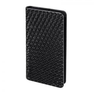 多くのスマートフォン機種対応 メッシュ柄PUレザー手帳型ケース ブラック iPhone Android