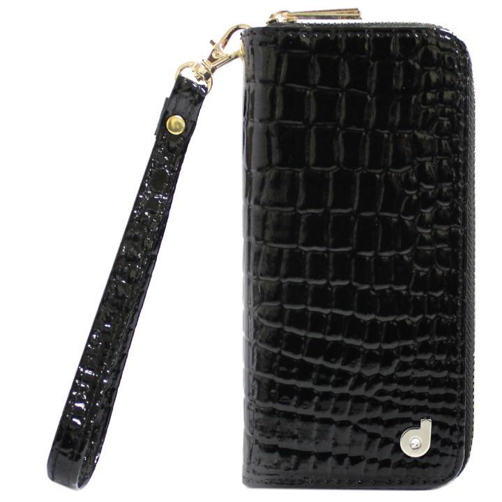 [2017夏フェス特価]dreamplus Zipper お財布付き手帳型ケース クロコエナメル/ブラック iPhone 7