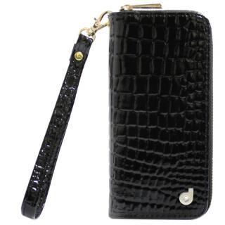 dreamplus Zipper お財布付き手帳型ケース クロコエナメル/ブラック iPhone 7