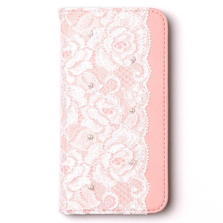 [2018バレンタイン特価]abbi ラッセルレース手帳型ケース ピンク iPhone 7
