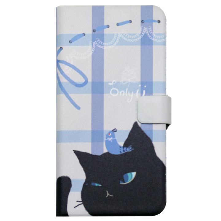 Happymori キャットカップル手帳型ケース ブラック iPhone 7