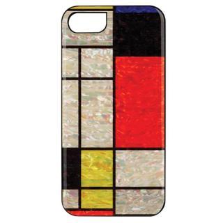 iPhone7 ケース 天然貝ハードケース モンドリアン/ブラックフレーム iPhone 7