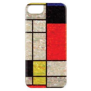 iPhone7 ケース 天然貝ハードケース モンドリアン/ホワイトフレーム iPhone 7