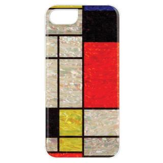 【iPhone7ケース】天然貝ハードケース モンドリアン/ホワイトフレーム iPhone 7
