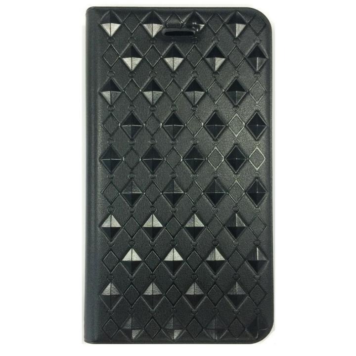 アーガイル柄 エンボス加工手帳型ケース ブラック iPhone 6s