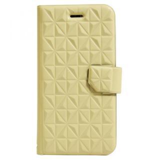 【iPhone6sケース】アーガイルレリーフ柄 エンボス加工手帳型ケース クリーム iPhone 6s