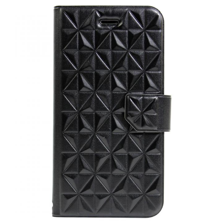 アーガイルレリーフ柄 エンボス加工手帳型ケース ブラック iPhone 6s