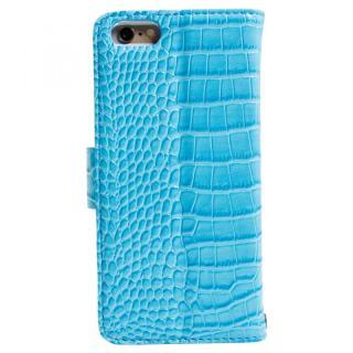 【iPhone6sケース】本革ワニ柄手帳型ケース ターコイズブルー iPhone 6s