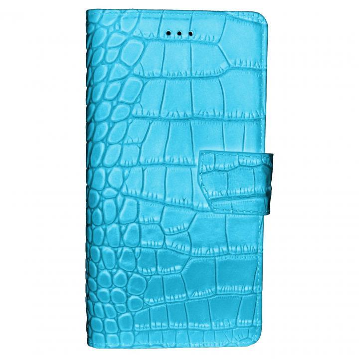 本革ワニ柄手帳型ケース ターコイズブルー iPhone 6s Plus