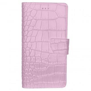 本革ワニ柄手帳型ケース ライトピンク iPhone 6s Plus