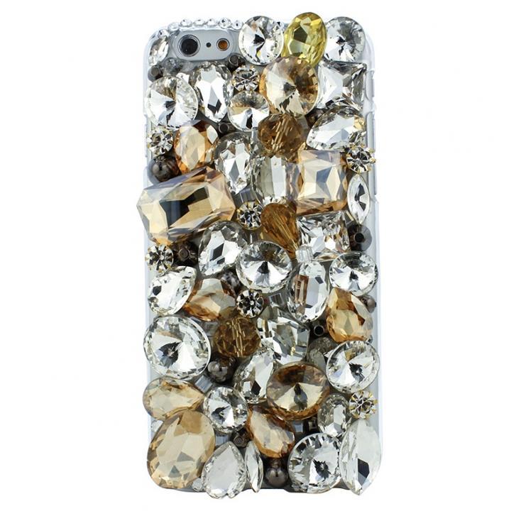 【iPhone6ケース】ストーンデコレーションケース ゴールドクリスタル iPhone 6ケース_0