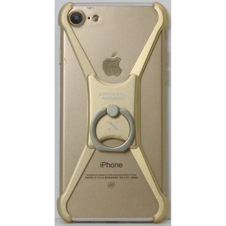 【iPhone8/7/6s/6ケース】CRYSTAL ARMOR  X Ring アルミバンパー ゴールド iPhone 8/7/6s/6_0