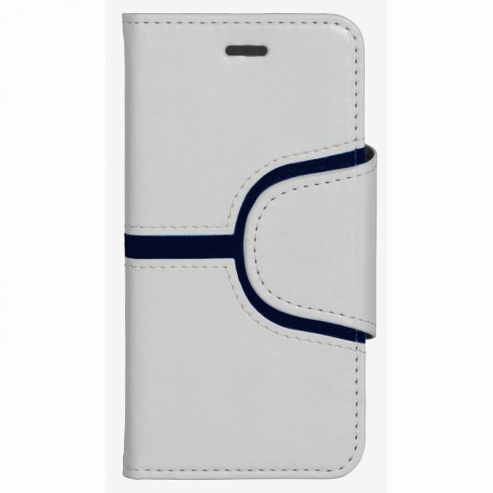 コズミックブルー PUレザー 手帳型ケース Yライン ホワイト iPhone 6ケース