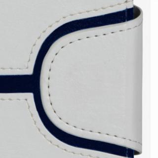 【iPhone6ケース】コズミックブルー PUレザー 手帳型ケース Yライン ホワイト iPhone 6ケース_1