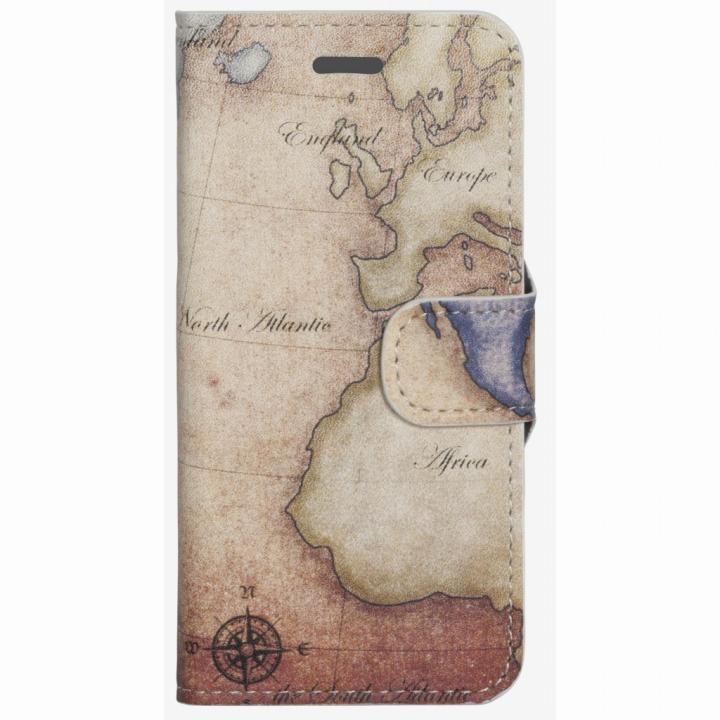 【iPhone6ケース】コズミックブルー PUレザー 手帳型ケース 地図/アトランティック ブラウン iPhone 6ケース_0