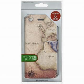 【iPhone6ケース】コズミックブルー PUレザー 手帳型ケース 地図/アトランティック ブラウン iPhone 6ケース_4