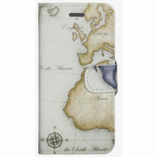 コズミックブルー PUレザー 手帳型ケース 地図/アトランティック グレー iPhone 6ケース