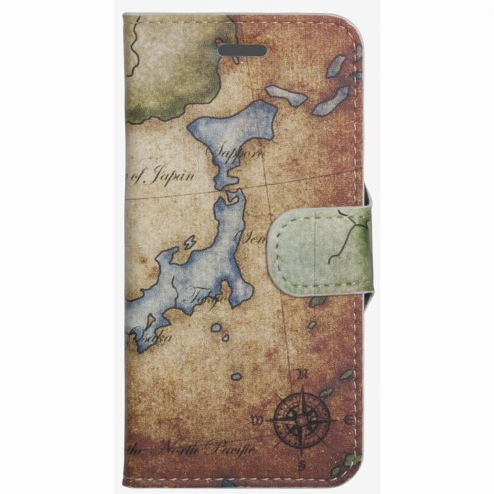 【iPhone6ケース】コズミックブルー PUレザー 手帳型ケース 地図/日本 ブラウン iPhone 6ケース_0