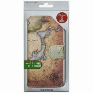 【iPhone6ケース】コズミックブルー PUレザー 手帳型ケース 地図/日本 ブラウン iPhone 6ケース_4
