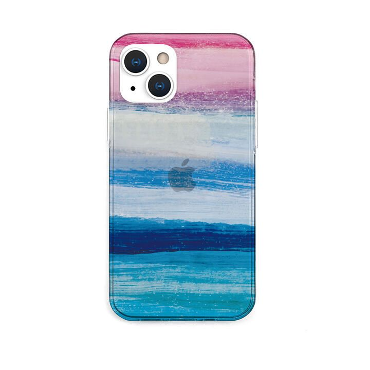 ソフトクリアケース 海の波 ブルー iPhone 13【10月下旬】_0