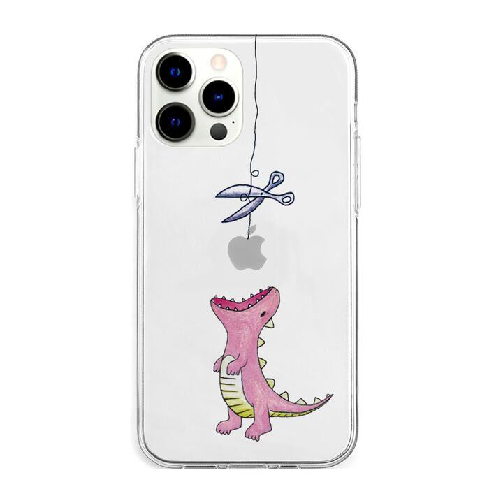 ソフトクリアケース はらぺこザウルス ピンク iPhone 13 Pro Max【10月上旬】_0