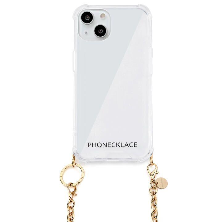 チェーンショルダーストラップ付きクリアケース ゴールド iPhone 13_0