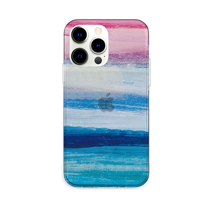 ソフトクリアケース 海の波 ブルー iPhone 13 Pro【10月下旬】_0