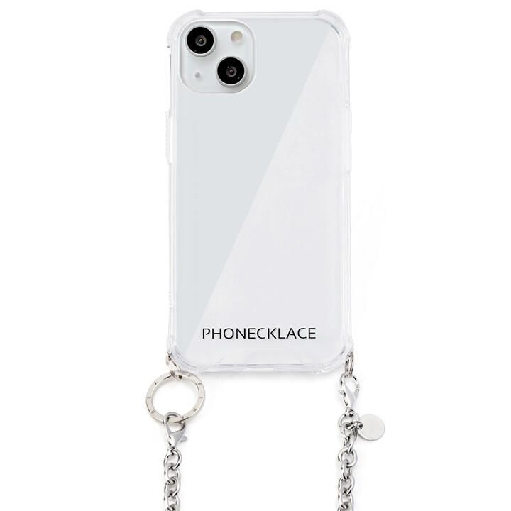 チェーンショルダーストラップ付きクリアケース シルバー iPhone 13_0