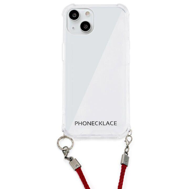 ロープショルダーストラップ付きクリアケース ダークレッド iPhone 13【10月下旬】_0