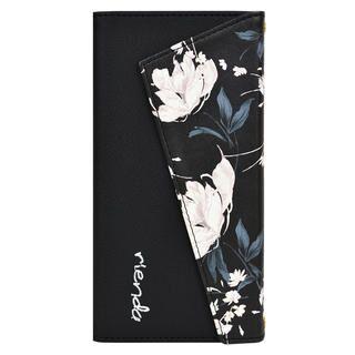 iPhone 11 Pro ケース rienda ロングストラップ・小銭付き3つ折り手帳 Grace Flower/ブラック iPhone 11 Pro