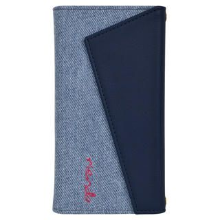 iPhone 11 ケース rienda ロングストラップ・小銭付き3つ折り手帳 デニム&ネイビー iPhone 11