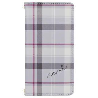 iPhone 11 ケース rienda プリント手帳 チェック柄/グレー iPhone 11