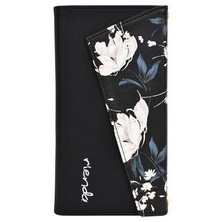 iPhone 11 ケース rienda ロングストラップ・小銭付き3つ折り手帳 Grace Flower/ブラック iPhone 11