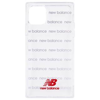 iPhone 11 ケース New Balance スクエア型TPUクリアケース ロゴボーダー/レッド iPhone 11