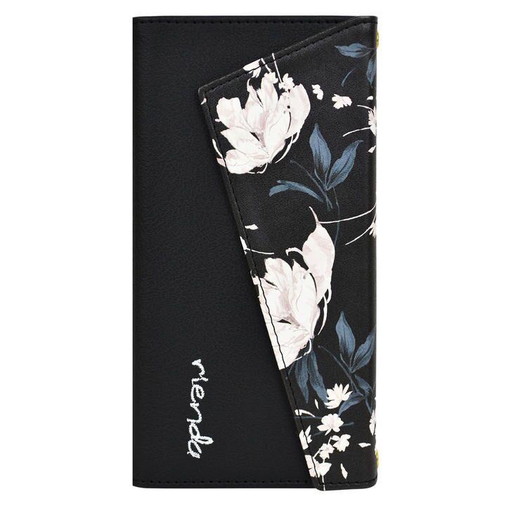 iPhone 11 Pro ケース rienda ロングストラップ・小銭付き3つ折り手帳 Grace Flower/ブラック iPhone 11 Pro_0