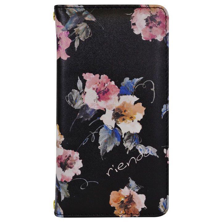 iPhone 11 ケース rienda プリント手帳 Parm Flower/ブラック iPhone 11_0