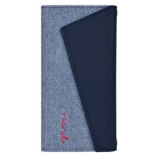 iPhone 11 Pro ケース rienda ロングストラップ・小銭付き3つ折り手帳 デニム&ネイビー iPhone 11 Pro