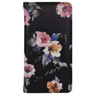 iPhone 11 ケース rienda プリント手帳 Parm Flower/ブラック iPhone 11