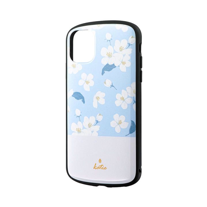 iPhone 11 ケース 超軽量・極薄・耐衝撃ハイブリッドケース「PALLET Katie」 フラワーサックス iPhone 11_0