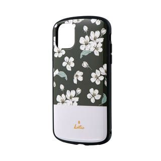 iPhone 11 ケース 超軽量・極薄・耐衝撃ハイブリッドケース「PALLET Katie」 フラワーブラック iPhone 11