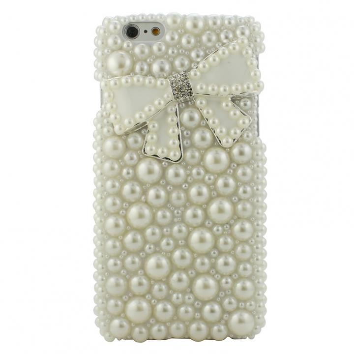 iPhone6s/6 ケース ストーンデコレーションケース パールリボン(ホワイト) iPhone 6s/6ケース_0