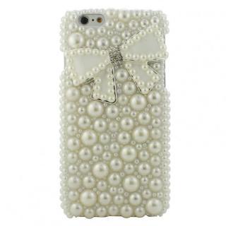 ストーンデコレーションケース パールリボン(ホワイト) iPhone 6s/6ケース