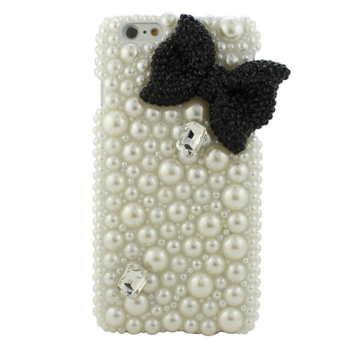 【iPhone6ケース】ストーンデコレーションケース パールリボン(ブラック) iPhone 6ケース_0