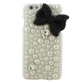 ストーンデコレーションケース パールリボン(ブラック) iPhone 6ケース