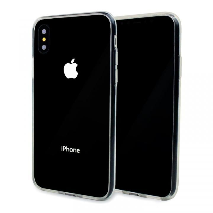 iPhone X/XS ケース A+ 背面強化ガラス×TPUハイブリッドケース Clear Panel Case for iPhone XS/iPhone X_0