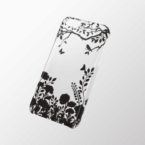 iPhone 5c用 シェルカバー(アップルテクスチャ) シルエットフラワー_0