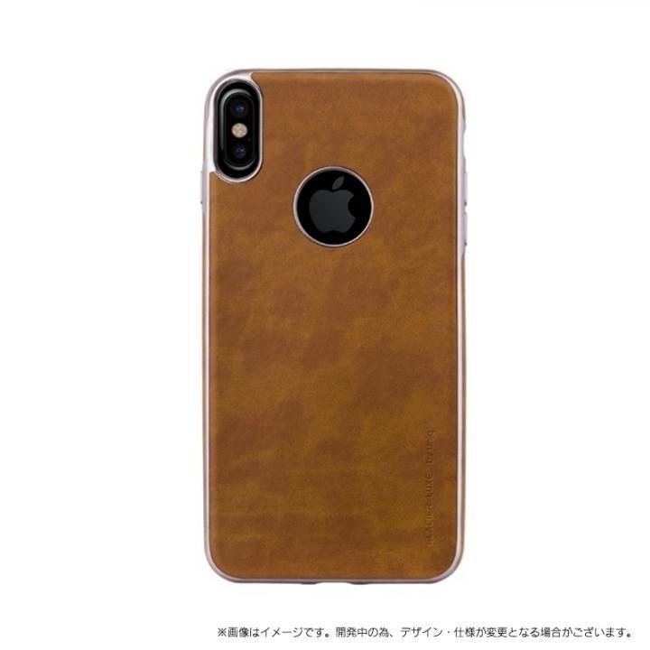 ソフトPU シェル型ケース Glacier Luxe Heritage キャメル iPhone XS/X