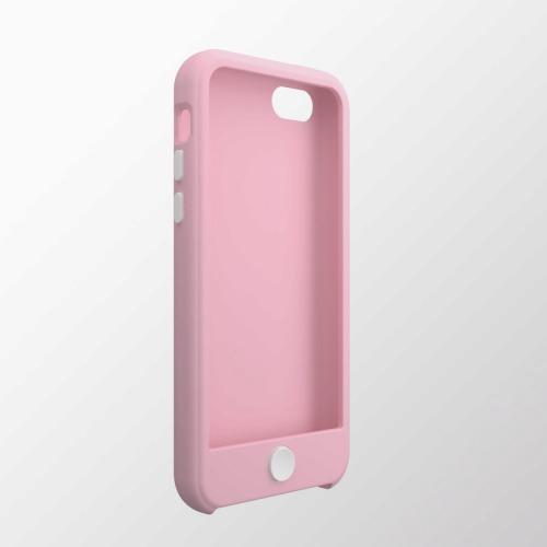 iPhone 5c用 カラフルシリコンケース ライトピンク×ホワイト_0