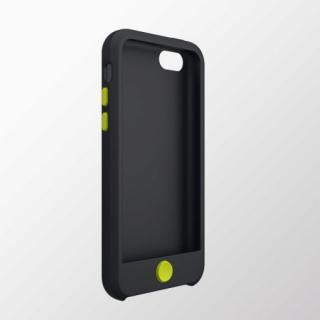 iPhone 5c用 カラフルシリコンケース ブラック×グリーン
